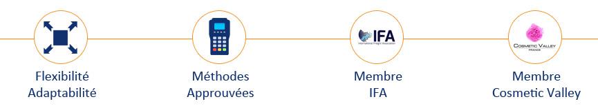 Flexibilité, méthodes approuvées, Membre IFA, Membre Cosmetic Valley